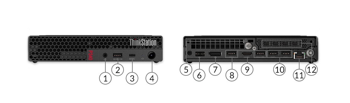 ThinkStation P340 tiny workstation showing ports