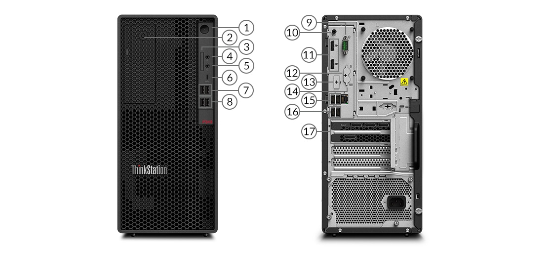 ThinkStation P340 Tower workstation ports