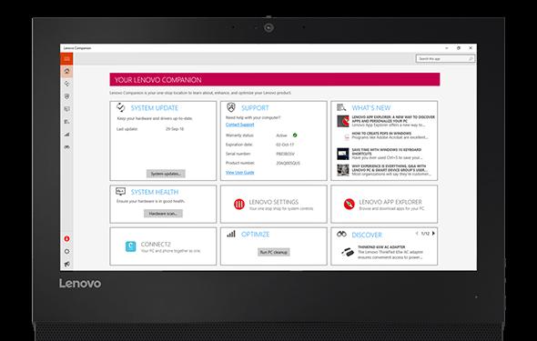 Detail of screen on Lenovo V310z AIO desktop with the Lenovo Companion App.