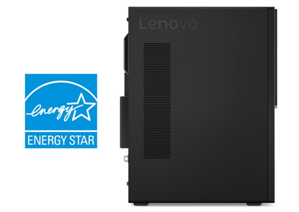 Lenovo V330 Tower Desktop. Shot of the Energy Star logo beside the lefthand side panel of the tower.