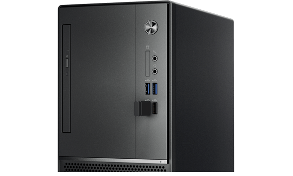 Easy front access to ports on the Lenovo V520 tower desktop.