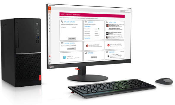 Lenovo V520 tower desktop with the Lenovo Companion App.