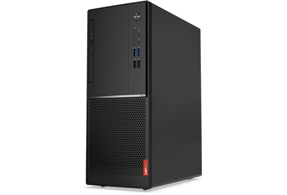 Front view, Lenovo V520 tower desktop showing ports and vents.