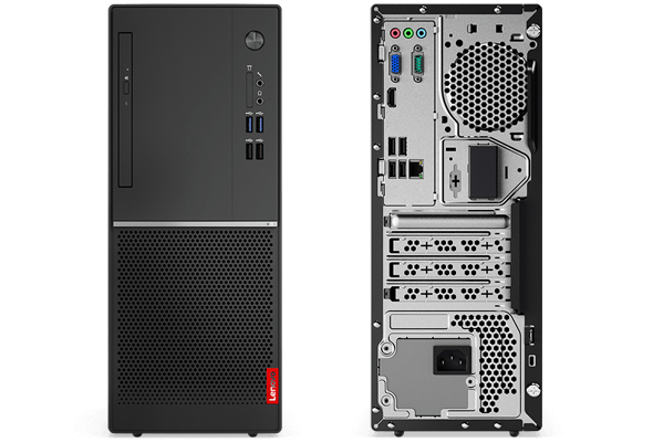 Lenovo V520 tower PC, front and back sides, vertically positioned.