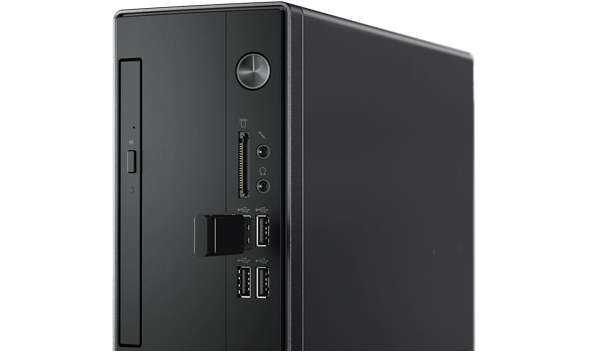 Easy front access to ports on the Lenovo V520 small form factor desktop.