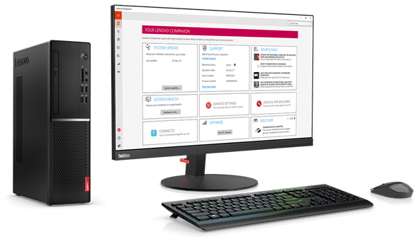 Lenovo V520 SFF desktop with the Lenovo Companion App.