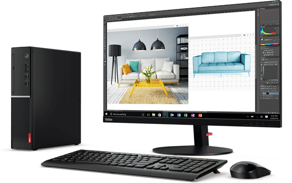 Lenovo V520s SFF PC, with monitor, keyboard, and mouse.