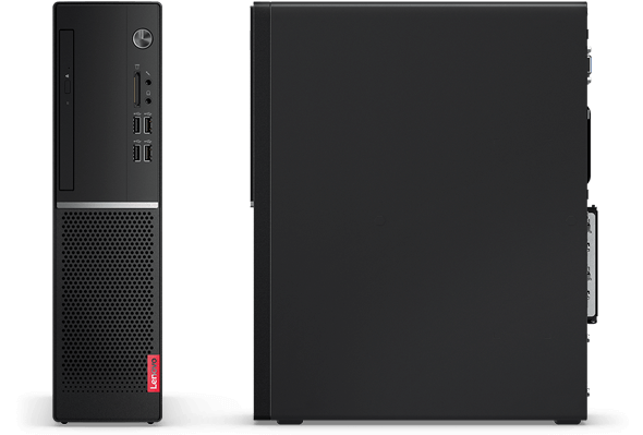 Lenovo V520s SFF PC, front view and side view, both positioned vertically.