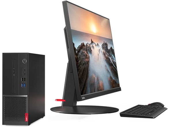 Lenovo Desktop v530s Tower side view with monitor and keyboard