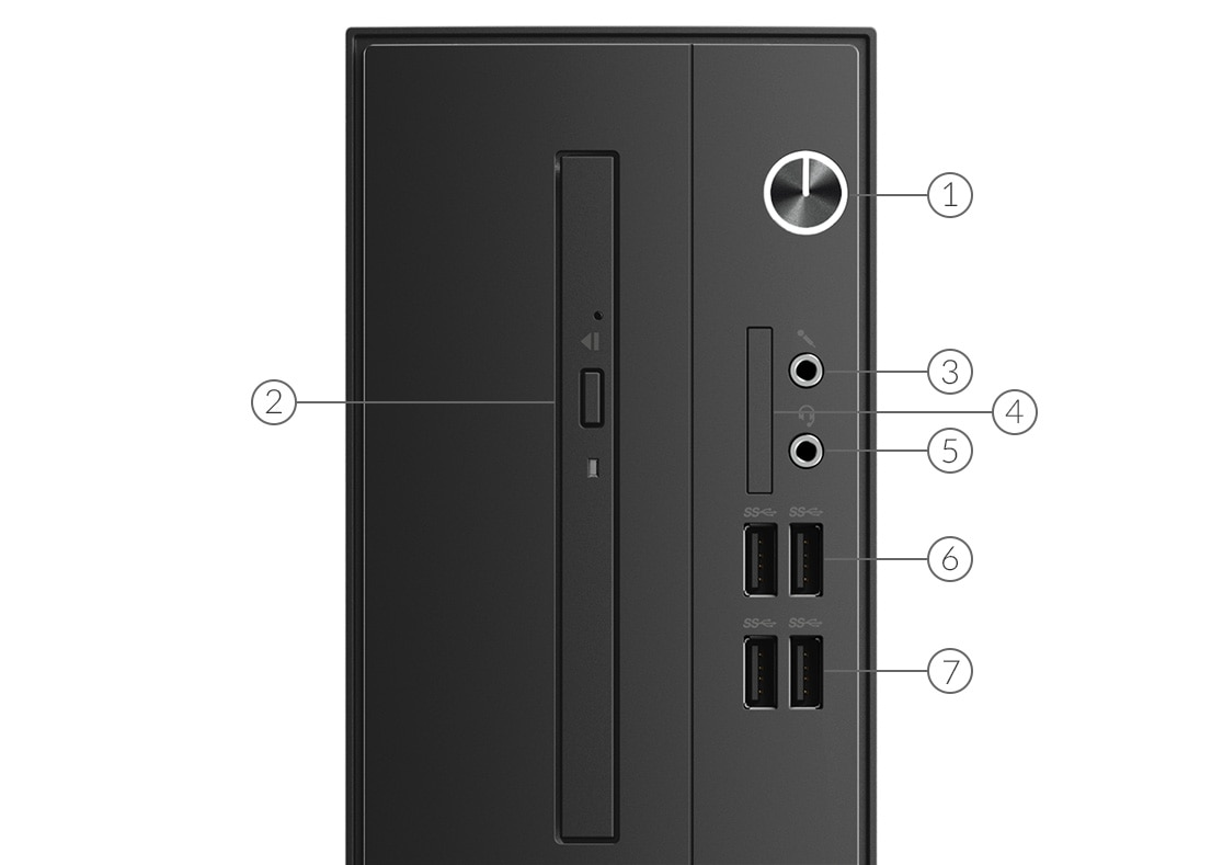 Lenovo Desktop v530s Tower port label front