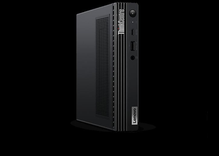 Face à l'avant Lenovo ThinkCentre M90q Gen 2 minuscule bureau positionné verticalement, légèrement incliné pour montrer les évents côté gauche / supérieur.