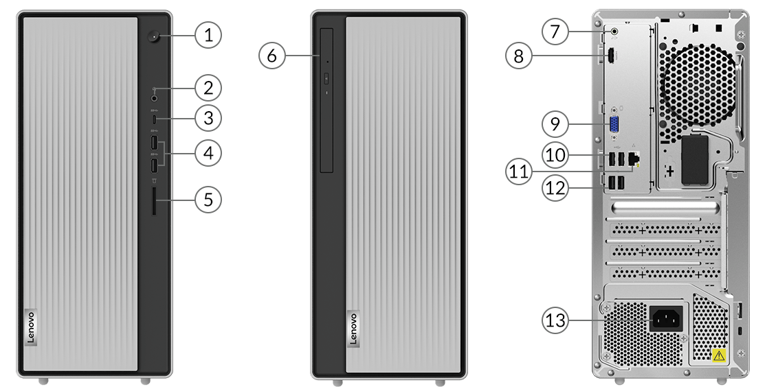 Lenovo ThinkCentre M80t front ports
