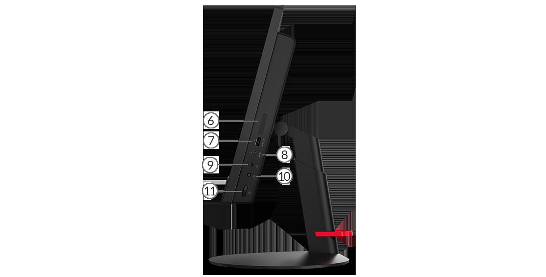 Вид на ThinkCentre M820z сбоку, демонстрирующий порты