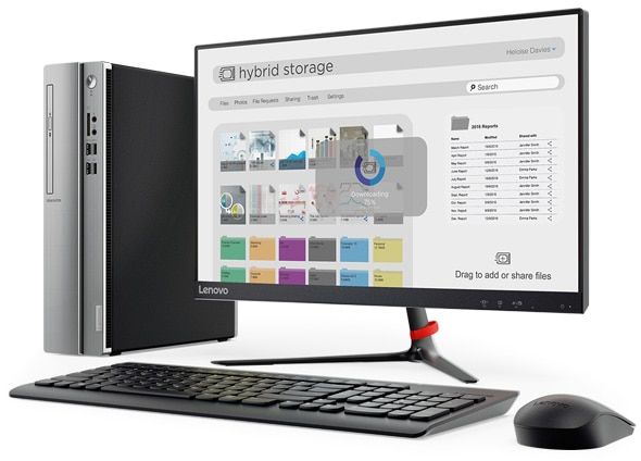 Lenovo Ideacentre 310s (Intel) small form factor PC positioned vertically with wireless monitor, keyboard, and mouse.