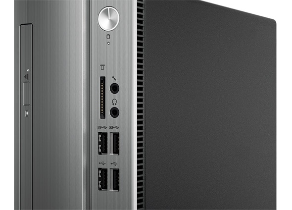 Detail of front panel on Lenovo Ideacentre 310s (Intel) small form factor PC showing optical drive, power button, and multiple ports.