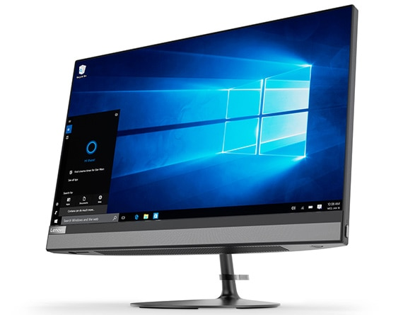 Lenovo Ideacentre AIO 520 (22, AMD), front right side view featuring Windows 10 and Cortana