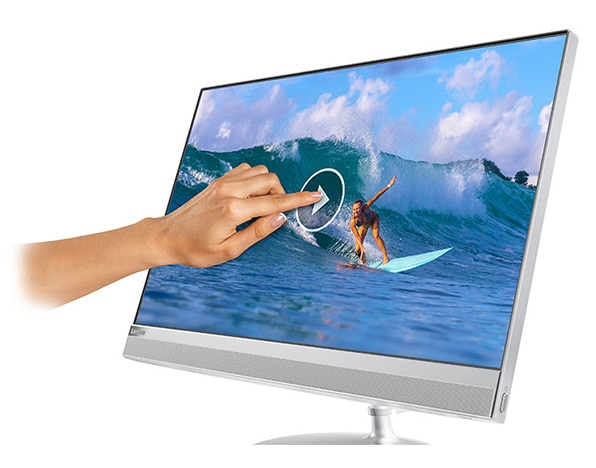 Lenovo Ideacentre AIO 520 (24), front right side view with hand touching display