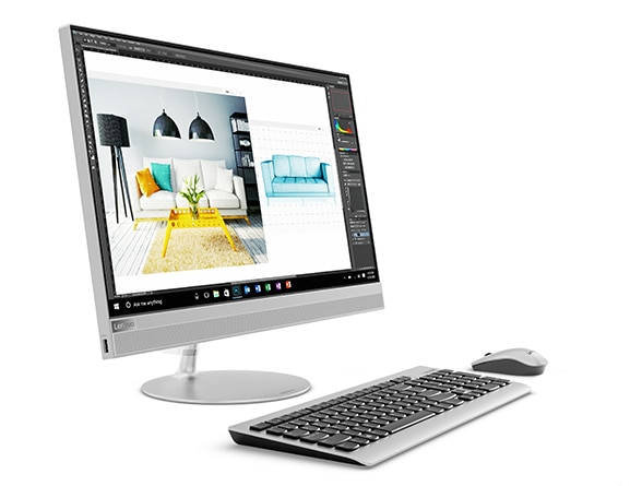 Lenovo Ideacentre AIO 520 (24), front left side view with keyboard and mouse