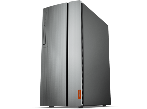 Lenovo Ideacentre 720 Tower, front view showing sleek magnetic door that conceals front ports