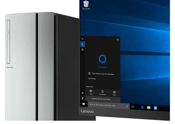 Lenovo Ideacentre 720 Tower, front view with monitor featuring Windows 10 and Cortana