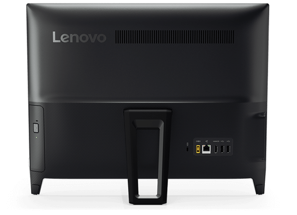 Lenovo Ideacentre AIO 310 (20), back view showing ports, stand, and optical drive
