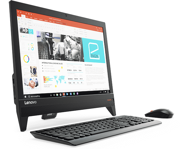 Lenovo Ideacentre AIO 310 (20), front left side view with keyboard and mouse