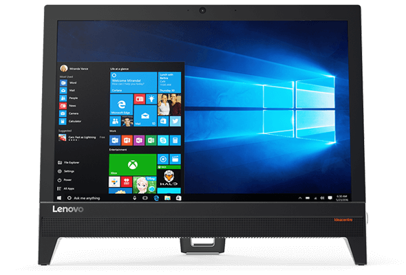 Lenovo Ideacentre AIO 310 (20), display view featuring Windows 10 and Cortana