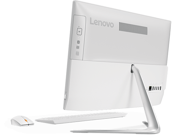 Lenovo Ideacentre AIO 510 (22), back right side view with keyboard and mouse