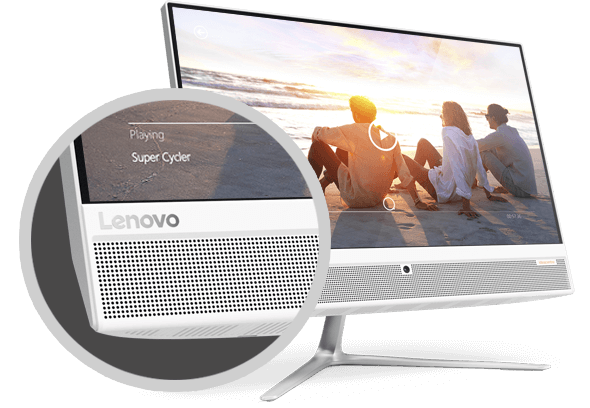 Lenovo Ideacentre AIO 510 (22), display view with speaker and Lenovo logo detail