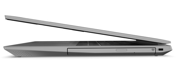 Side view of a Platinum Grey version of the IdeaPad L340, showing the ODD / drive bay door