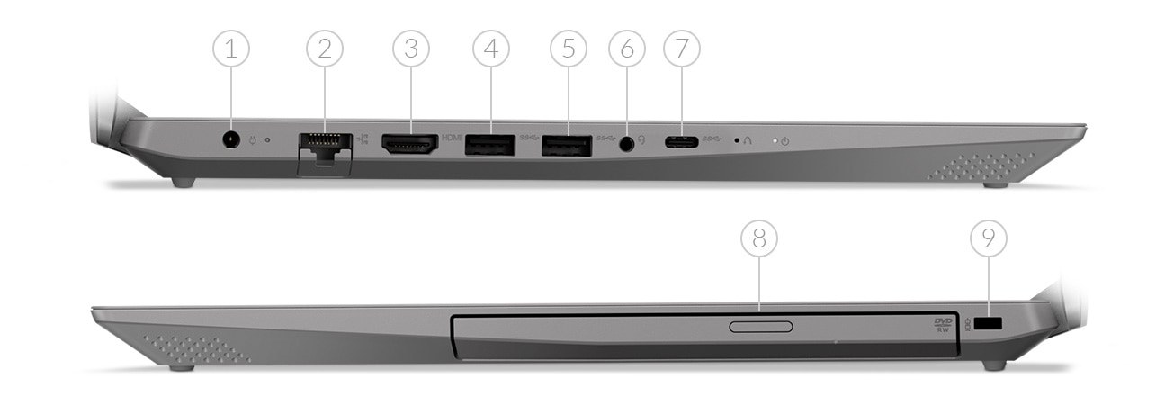 Lenovo IdeaPad L340 15 side views showing ports