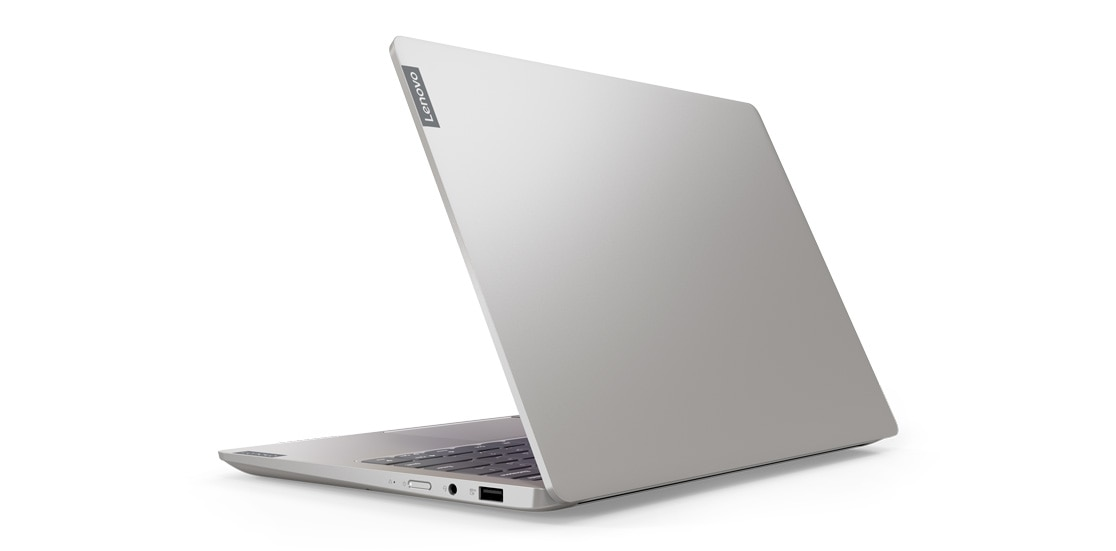Side view of the Lenovo IdeaPad S540, with the display slightly open.