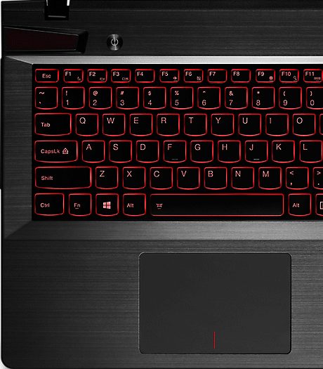 Lenovo Y510p backlit Accutype keyboard view