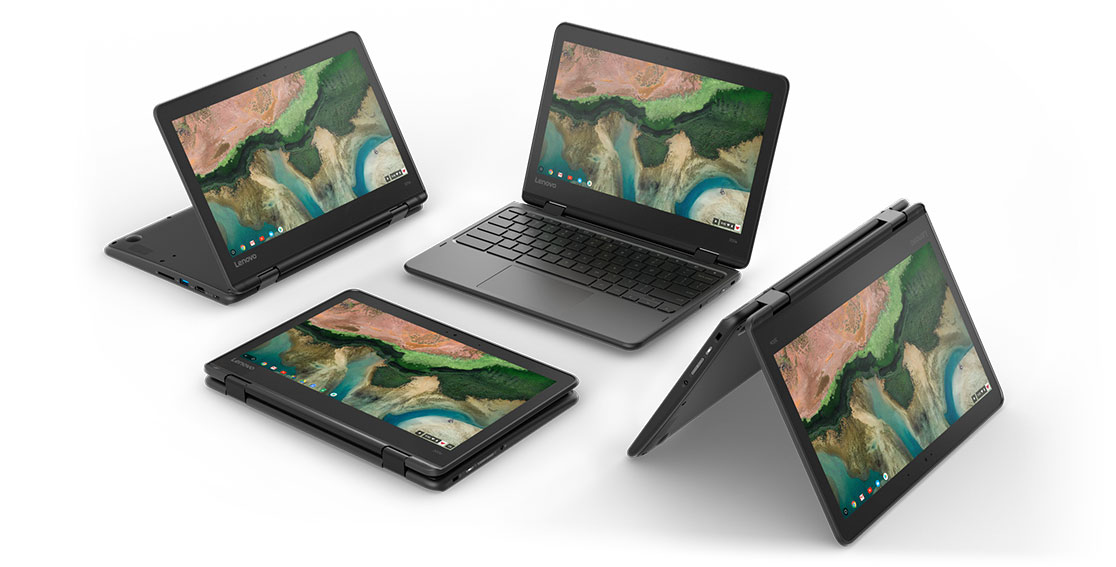 Four Lenovo 300e Chromebooks in each mode.  Laptop, Tablet, Stand, and Tent.