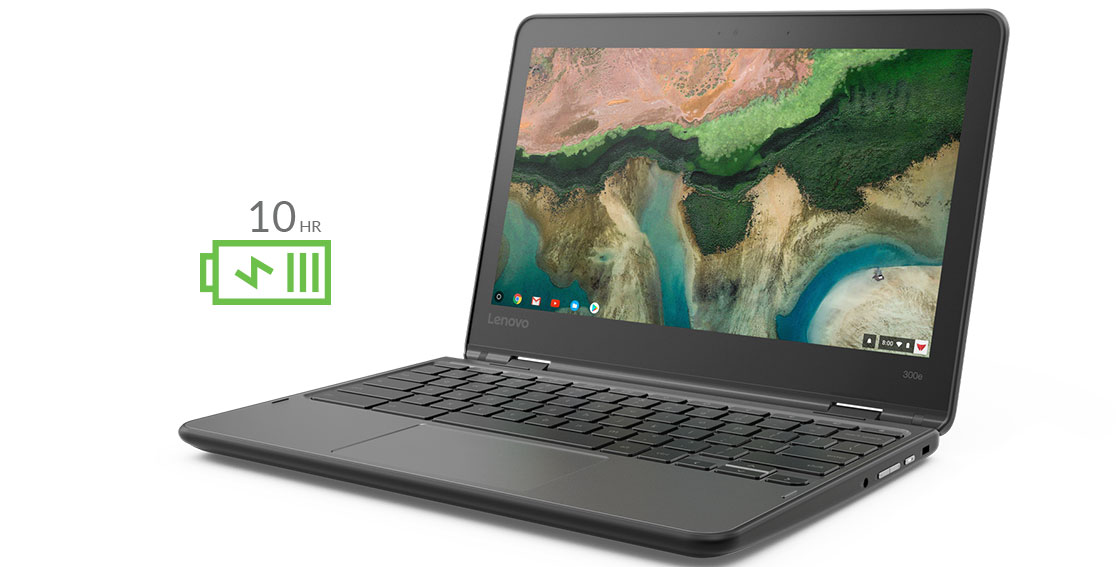 Lenovo 300e Chromebook front right side view, with icon to show 10 hours of battery life