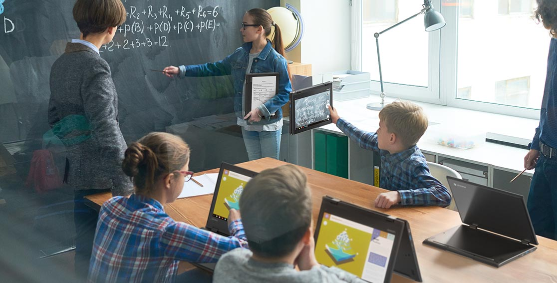 Lenovo 500e Chromebooks being used by students in classroom