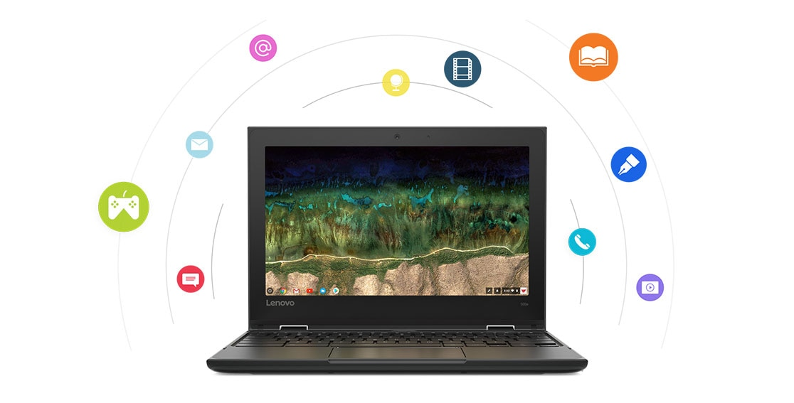 Lenovo 500e Chromebook front view, surrounded by multimedia graphic icons