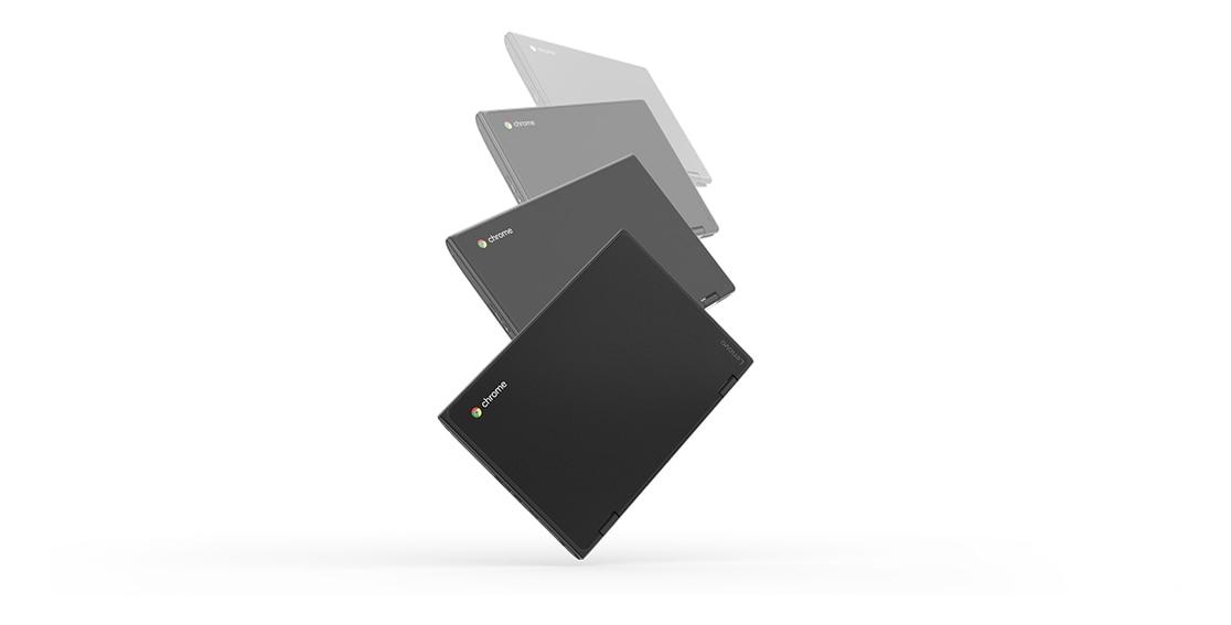 Lenovo 500e Chromebook, closed and falling to show toughness
