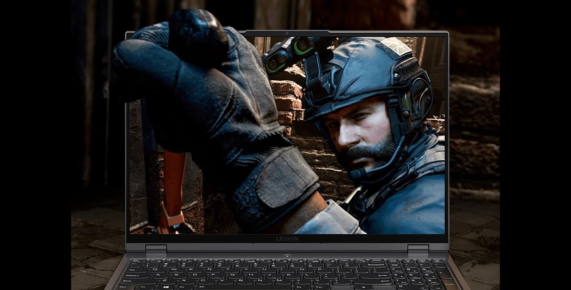 "Lenovo Legion 5 Pro (16"" AMD), right front angle view"