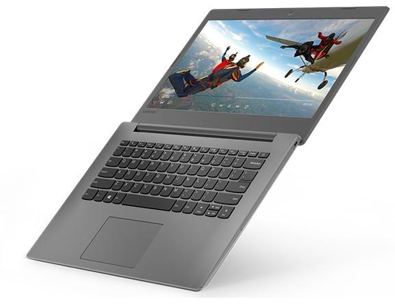 Lenovo Ideapad 130 (14), right top view, open 180 degrees