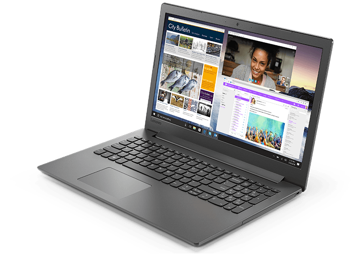 Lenovo Ideapad 130 (15), right front view, open, showing display, keyboard, and touchpad.