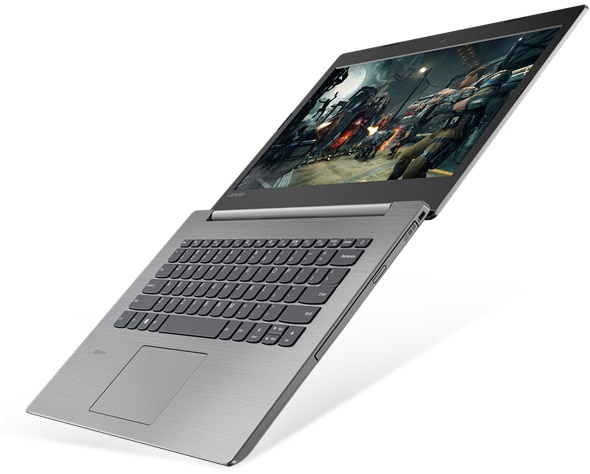 Lenovo Ideapad 330 (14), open to 180 degrees, top right view.