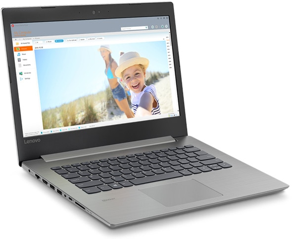 Lenovo Ideapad 330 (14), left front view, open.