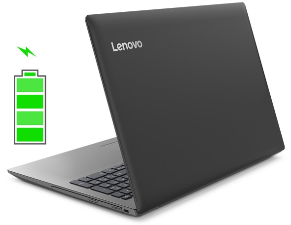 Lenovo Ideapad 330 (15), right rear view, open, with battery icon.
