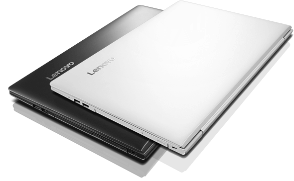 Two Lenovo Ideapad 510s (14) in White and Black, Closed and Stacked