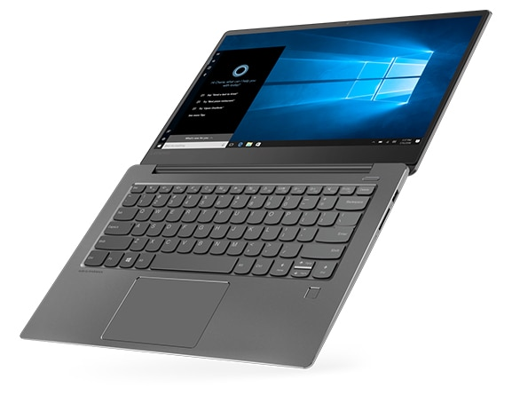 Lenovo Ideapad 530S, top right angle view, hinge at 180 degrees