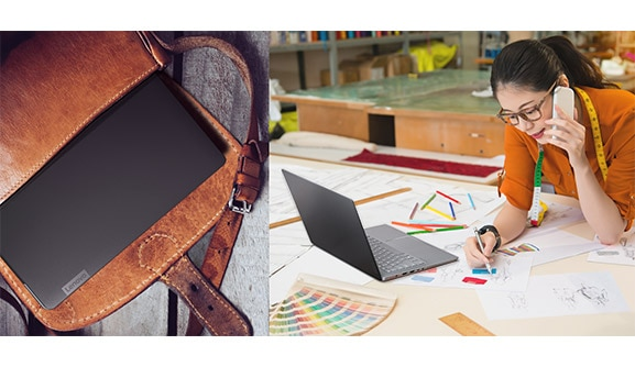 Lenovo Ideapad 530S (14), shown in a small satchel and on an artist's table.