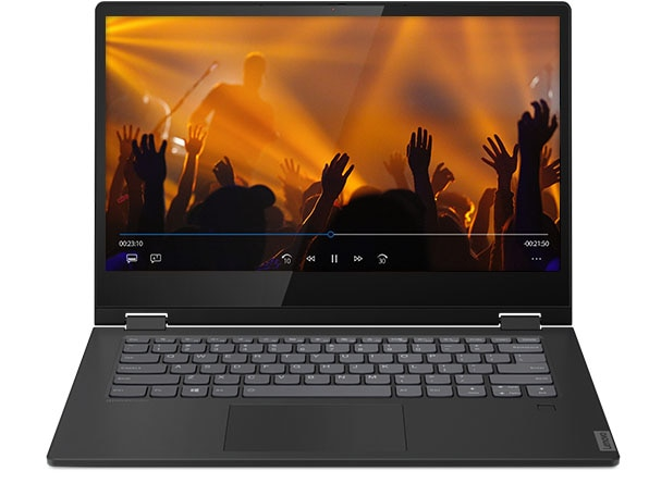 Front shot of the IdeaPad C340 (14, AMD) with the display open, showing music fans with hands in the air at a concert