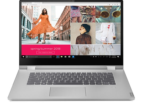 Front-facing shot of the IdeaPad C340 (15) showing the a fashion Spring/Summer 2018 Collection