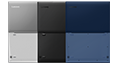 Top view of rear of Lenovo Ideapad S130 open 180 degrees in midnight blue, granite black, and mineral grey thumbnail